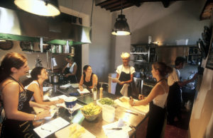 Giovannella leading a cooking class in Volpaia