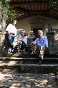 Nicoló, Federica, Giovanella and Carlo in front of the Cappella del Fossato